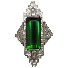 11 Carat Emerald Cut Tourmaline and Diamond Platinum Ring