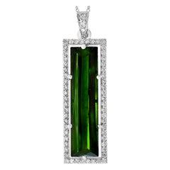 11 Carat Green Tourmaline and 1.2 Carat Diamond Pendant / Necklace 18 Karat Gold