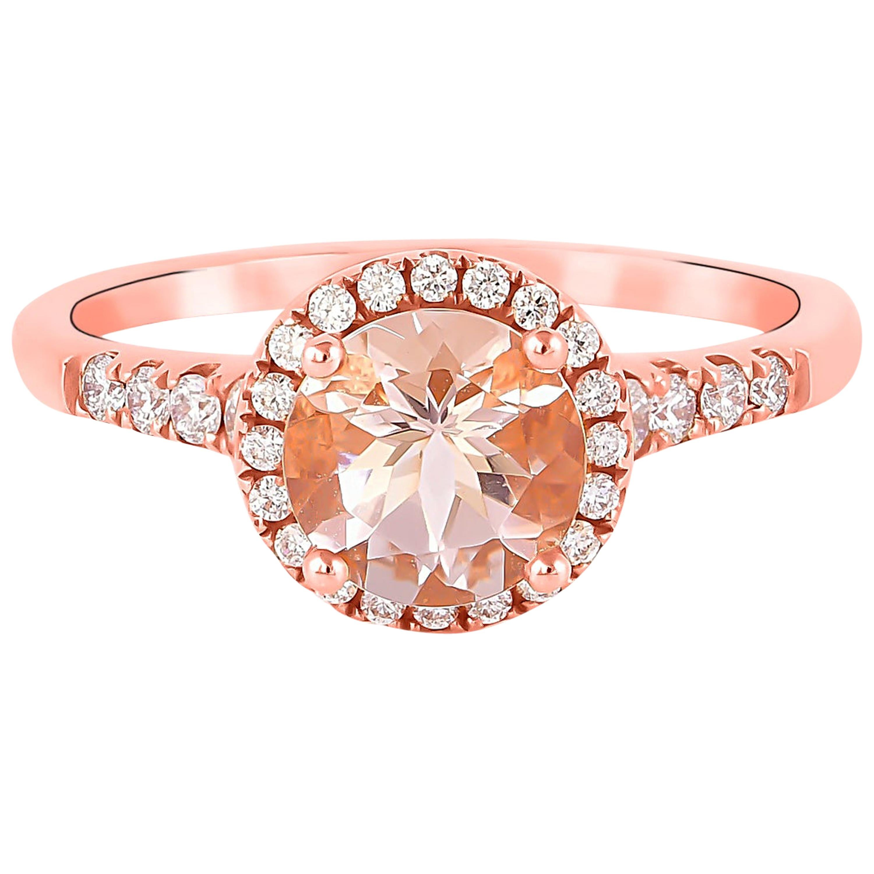 1.1 Carat Morganite and Diamond Ring in 18 Karat Rose Gold