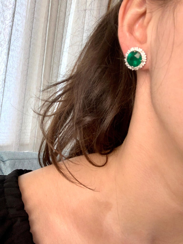 11 Carat Round Emerald and Diamond Stud Earrings 14 Karat White Gold For Sale 5