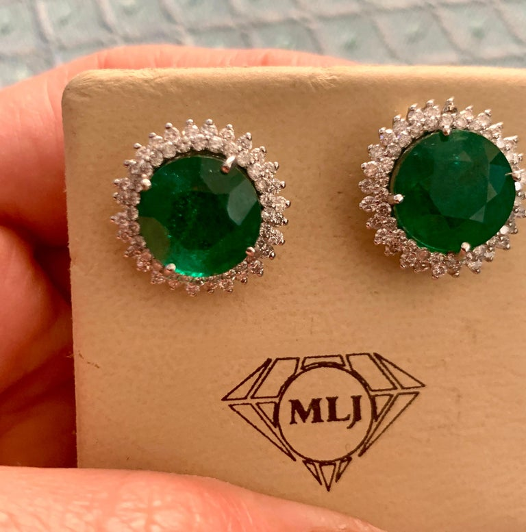 11 Carat Round Emerald and Diamond Stud Earrings 14 Karat White Gold For Sale 6