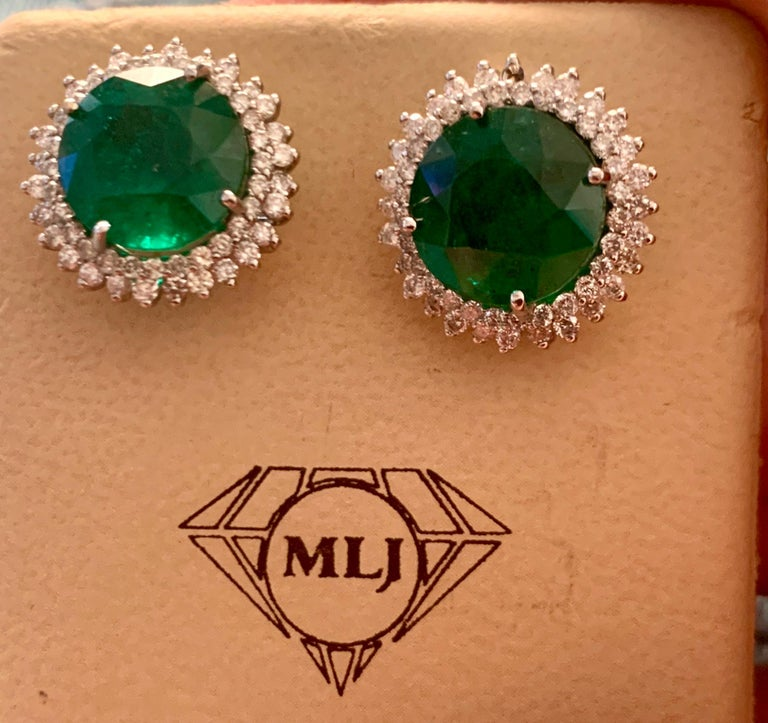 11 Carat Round Emerald and Diamond Stud Earrings 14 Karat White Gold For Sale 7
