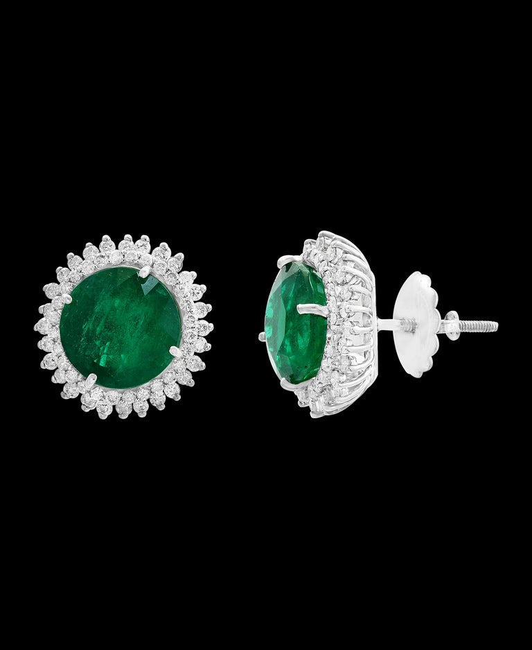 Round Cut 11 Carat Round Emerald and Diamond Stud Earrings 14 Karat White Gold For Sale
