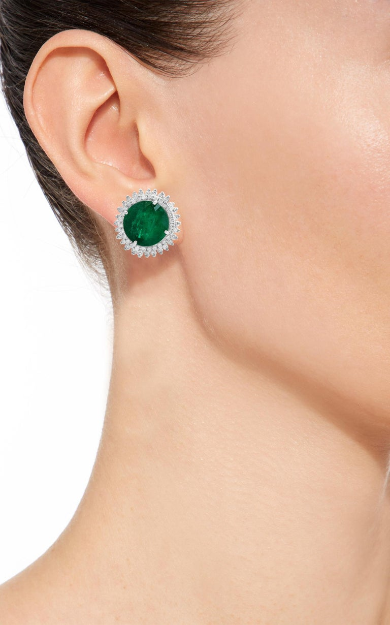 Women's 11 Carat Round Emerald and Diamond Stud Earrings 14 Karat White Gold For Sale
