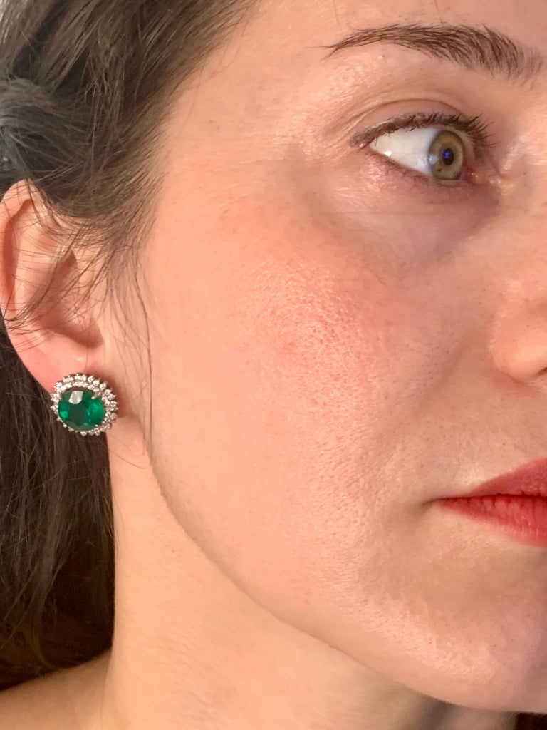 11 Carat Round Emerald and Diamond Stud Earrings 14 Karat White Gold For Sale 2