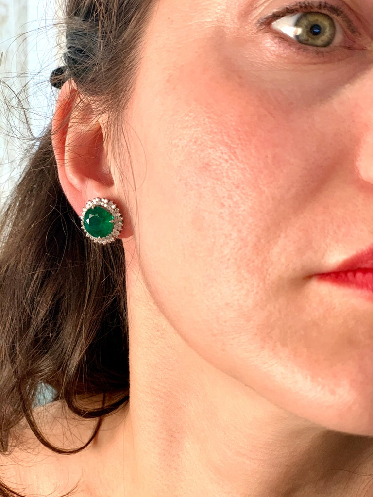 11 Carat Round Emerald and Diamond Stud Earrings 14 Karat White Gold For Sale 3