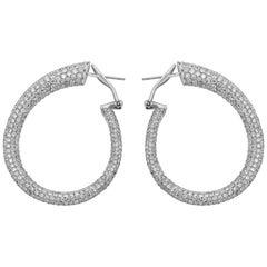 11 Carat Semi Oval Diamond Hoop Earrings