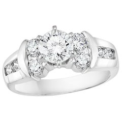 1.1 Carat Solitaire Round Shape 2 Carat Total Diamond 14 White Gold Ring