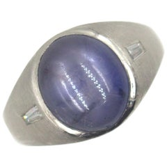 11 Carat Star Sapphire Diamond Platinum Ring Ceylon No Heat GIA Certified
