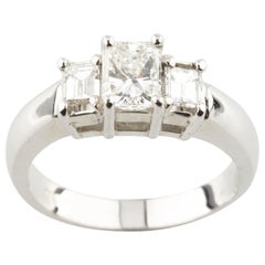 1.1 Carat Three-Stone Princess and Emerald Cut Engagement Ring White Gold