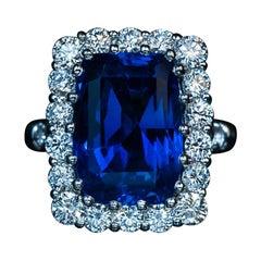 11 Ct Ceylon Sapphire Diamond Platinum Ring
