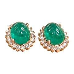 11 Ct Natural Emerald Zambia Cabochon & Diamond Stud Earring 14 Karat Rose Gold