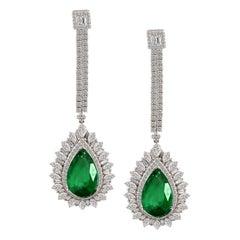 11 Ct Pear Shape Zambian Emerald & 6 Ct Diamonds Drop Earrings 18K White Gold