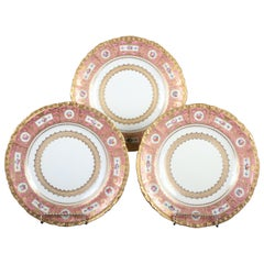11 Derby for Tiffany Hand Painted and Gilded Pink Service Plates