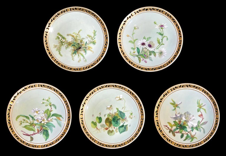 English 11 Dinner Plates Flowers and Gold, Minton Porcelain, 1874-1884 For Sale