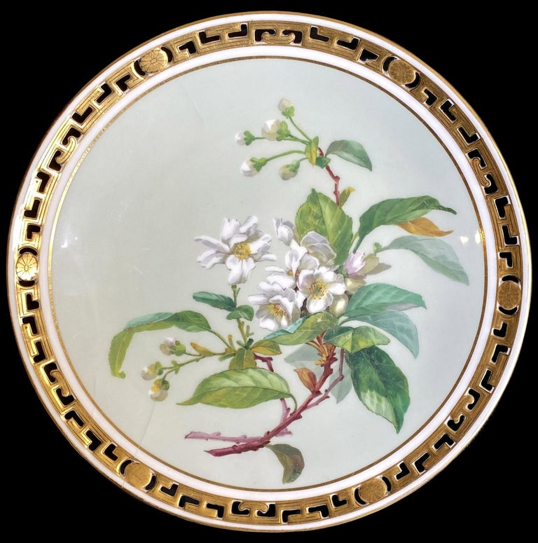 19th Century 11 Dinner Plates Flowers and Gold, Minton Porcelain, 1874-1884 For Sale