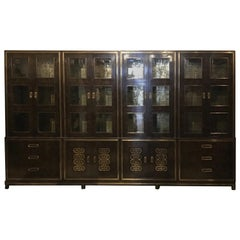 1970s Mastercraft Burl Wood Wall Unit or Bookcases