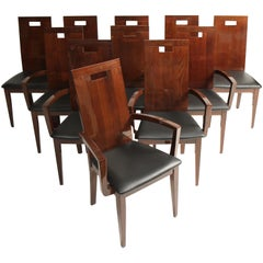 11 Italian High Back Walnut Dining Chairs by Excelsior Designs