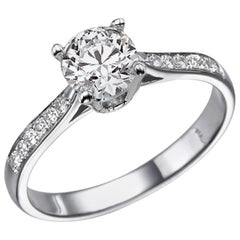1.1 Karat 14 Karat White Gold Round GIA Diamond Ring, Classic Accented Ring