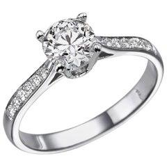1.1 Karat 14 Karat White Gold Round GIA Diamond Ring, Classic Accented Ring
