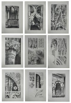 11 Original Antique Architectural Prints by John Ruskin, circa 1880