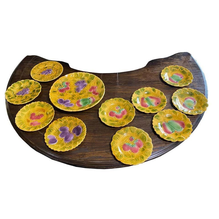 20th Century 11 Piece Set of Sarreguemines French Faience Majolica Dessert Plates For Sale