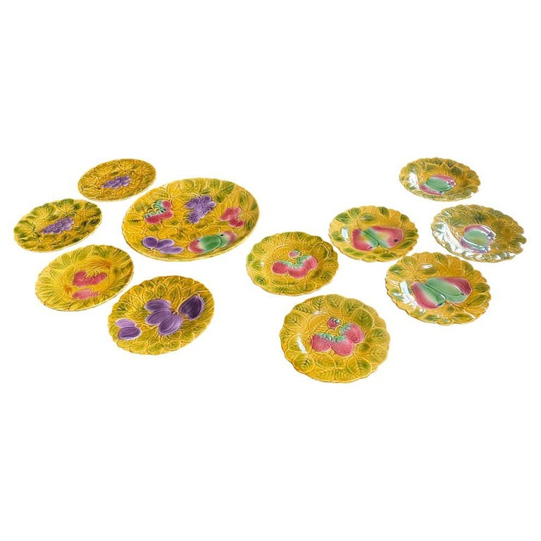 11 Piece Set of Sarreguemines French Faience Majolica Dessert Plates For Sale