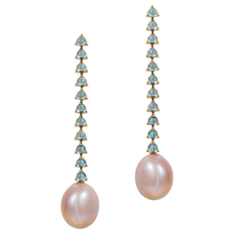 e9ab6ccbf 11 3mm Stone Modern Minimal Baroque Pearl Earrings, 18K Gold, Swiss Blue  Topaz For