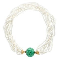 11-Strand Akoya Pearl and Carved Jadeite 18 Karat Yellow Gold Necklace