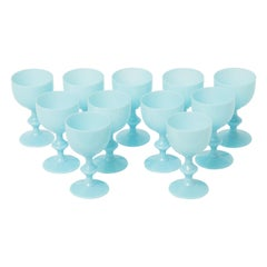 11 Turquoise Portieux Vallerysthal Wine Glasses, circa 1930