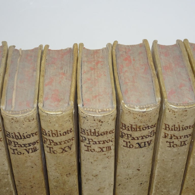 Collection of 11 Volumes of Vellum books from the 18th century. The books are all vellum.