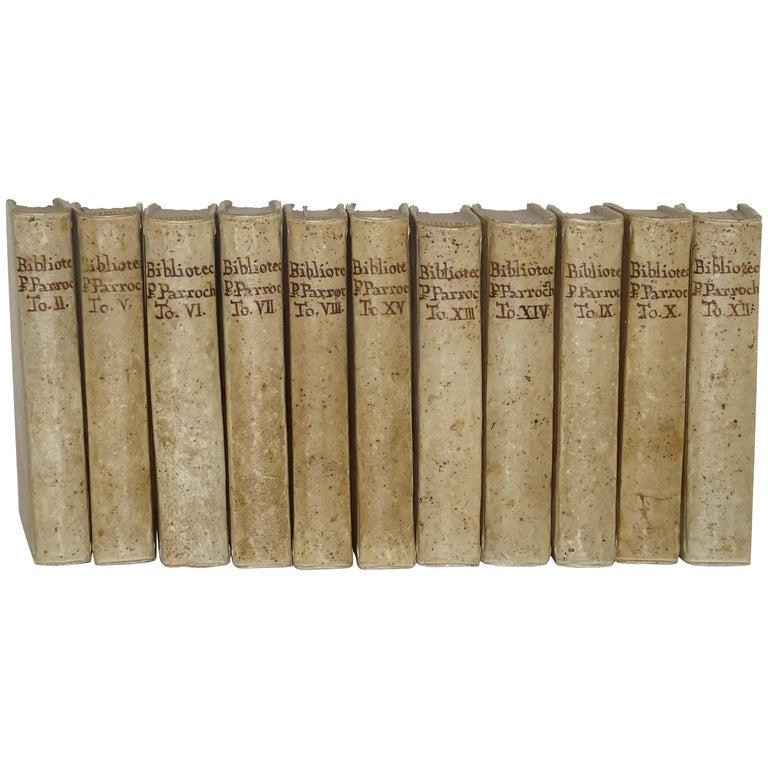 11 Volumes of 18th Century Vellum Books For Sale