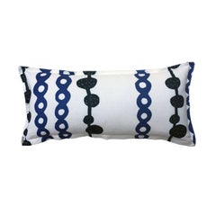 Indigo Ball and Chain on Oyster Cotton Linen Pillow