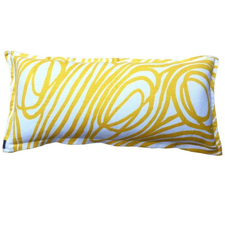 Lemon Ropes on Oyster Cotton Linen Pillow For Sale