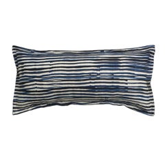 Midnight Stripe on Wheat Cotton Linen Pillow