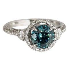 1.10 Carat Aqua-Blue Color-Enhanced Diamond Ring by Diamond Town