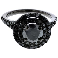 1.10 Carat Black Diamond Double Halo Ring with Black Diamond Halo