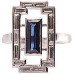 1.10 Carat Blue Sapphire and 1.20 Carat Diamond Art Deco Platinum Tablet Ring
