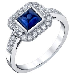 1.10 Carat Blue Sapphire Square Cabochon and Diamond White Gold Cocktail Ring
