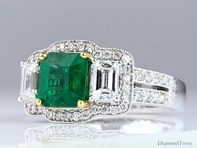 Cushion Cut 1.10 Carat Emerald and 1.03 Carat Diamond Ring in 18 Karat White Gold For Sale