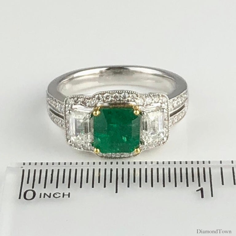 1.10 Carat Emerald and 1.03 Carat Diamond Ring in 18 Karat White Gold For Sale 2