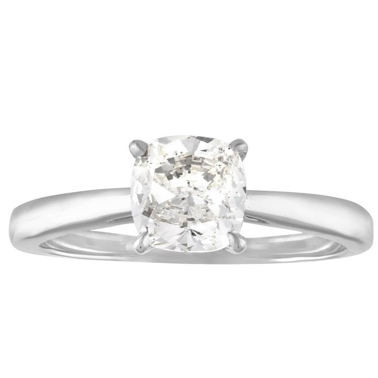 1.10 Carat Cushion Cut Diamond Engagement Gold Ring
