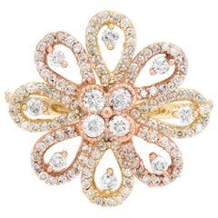 1.10 Carat Diamond Cocktail Ring Large Flower Estate Fine Jewelry 14 Karat Gold