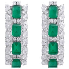 11.0 Carat Diamond Emerald 18 Karat White Gold Earrings