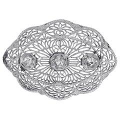 1.10 Carat Diamond Oval Open Brooch