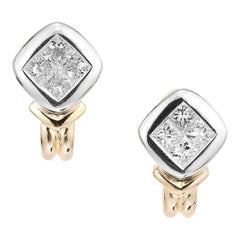 1.10 Carat Diamond Two-Tone Gold Earrings