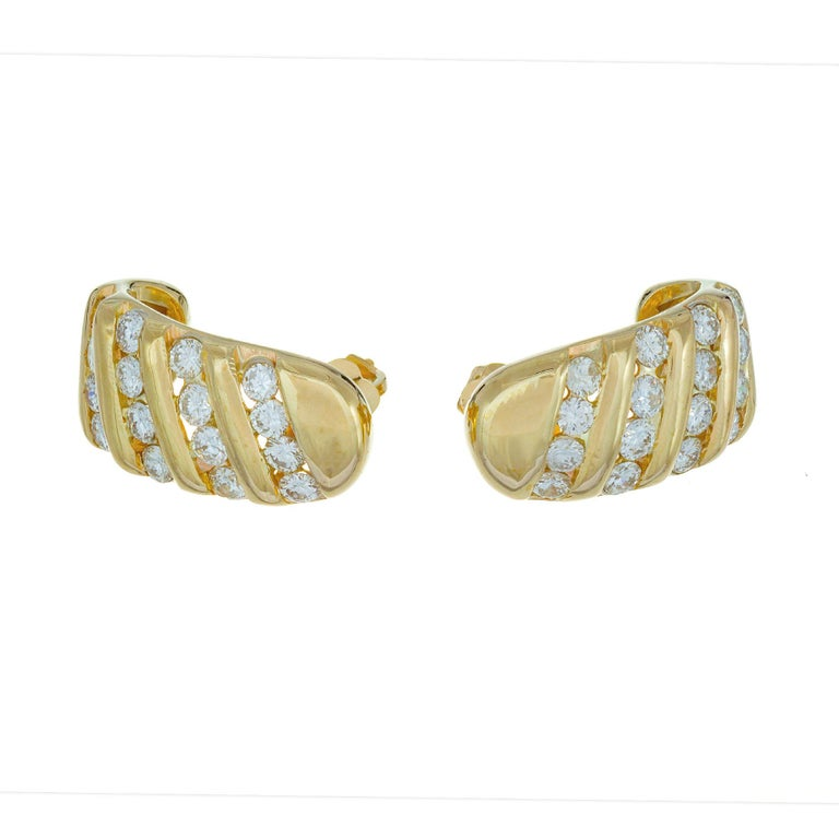 1.10 Carat Diamond Yellow Gold Channel Set Half Hoop Earrings For Sale 1