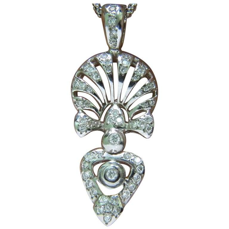 1.10 Karat Diamant Moderne Deco Halskette, Italien im Angebot bei ...