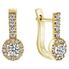 """1.10 Carat """"Edison"""" Diamond Earrings in 14K Yellow Gold, Shlomit Rogel"""