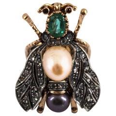 "1.10 Carat Emerald 0.50 Carat Diamond Pearl Yellow Gold Cocktail ""Cicada"" Ring"